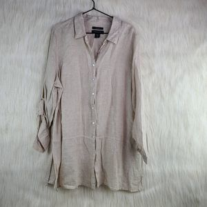 TAHARI Sand 100% Linen Button Down Shirt 1XL